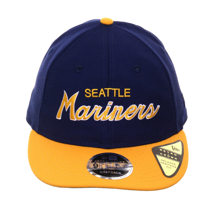 Exclusive New Era 9fifty Seattle Mariners Script Retro Crown Snapback Hat - 2T Royal, Gold
