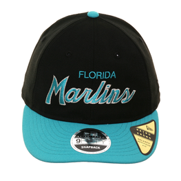 Exclusive New Era 9Fifty Miami Marlins Script Retro Crown Snapback Hat - 2T Black, Teal
