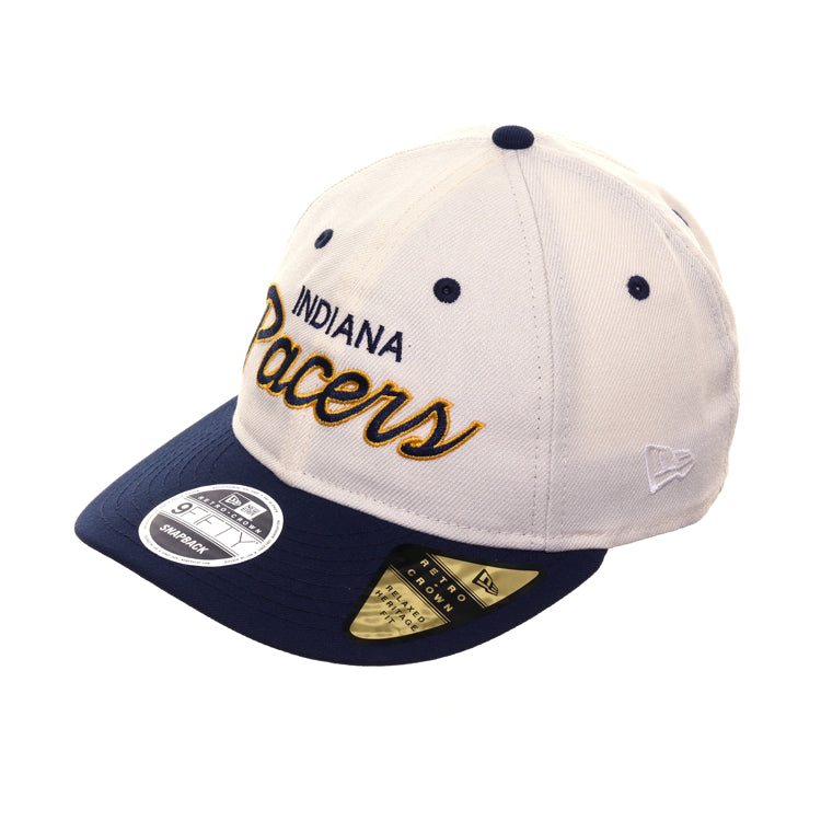 02de6c79f Exclusive New Era 9fifty Indiana Pacers Script Retro Crown Snapback Hat -  2T White, Navy