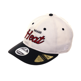 Exclusive New Era 9fifty Miami Heat Script Retro Crown Snapback Hat - 2T White, Black