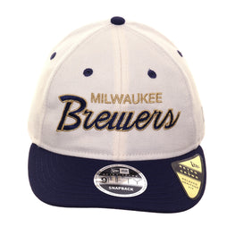 Exclusive New Era 9fifty Milwaukee Brewers Script Retro Crown Snapback Hat - 2T White, Light Navy