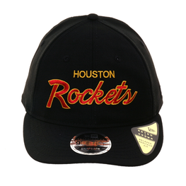 Exclusive New Era 9Fifty Houston Rockets Script Retro Crown Snapback Hat - Black