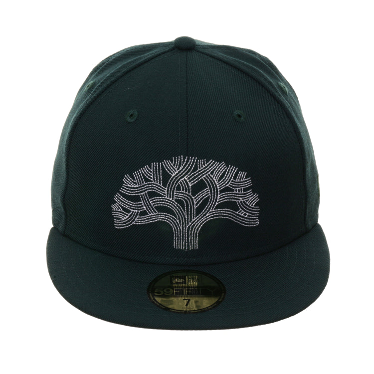 buy popular 48f41 6856d Exclusive New Era 59Fifty The Town Tree Hat - Green, White – Hat Club