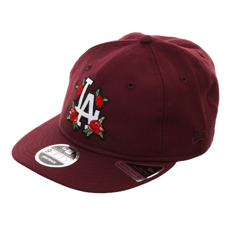 Exclusive New Era 9Fifty Los Angeles Dodgers Floral Retro Crown Snapback Hat - Maroon