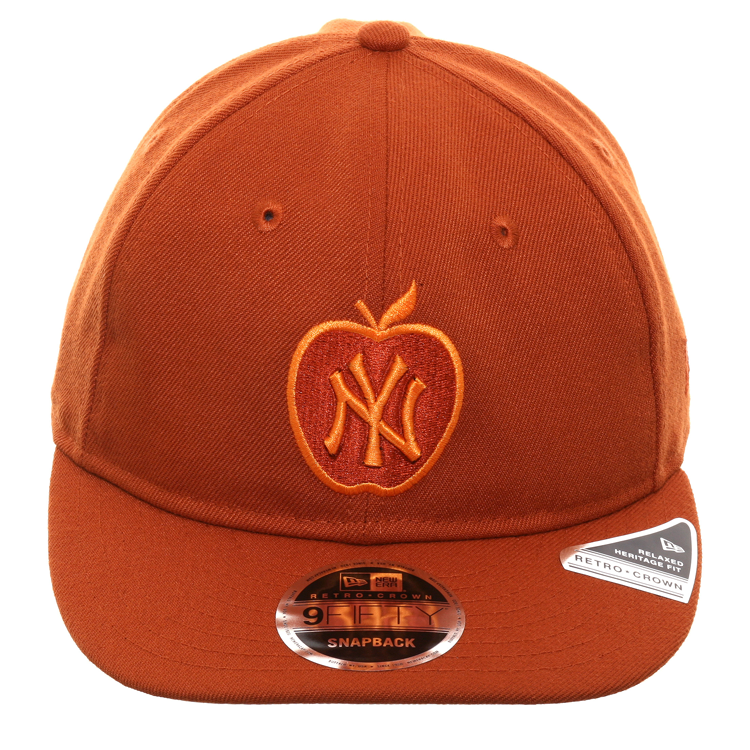Exclusive New Era 9Fifty New York Yankees Apple Retro Crown Snapback Hat - Orange