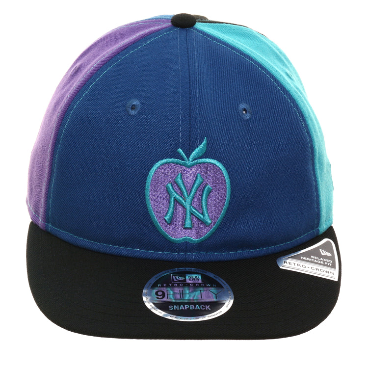 f1c20e1fd Exclusive New Era 9Fifty New York Yankees Apple Retro Crown Snapback Hat -  Indigo, Teal, Purple
