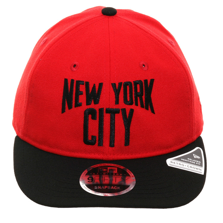 Exclusive New Era 9Fifty New York City Lennon Retro Crown Snapback Hat - 2T Red, Black