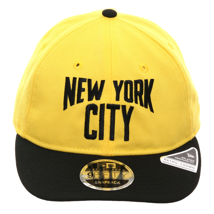 Exclusive New Era 9Fifty New York City Lennon Retro Crown Snapback Hat - 2T Yellow, Black