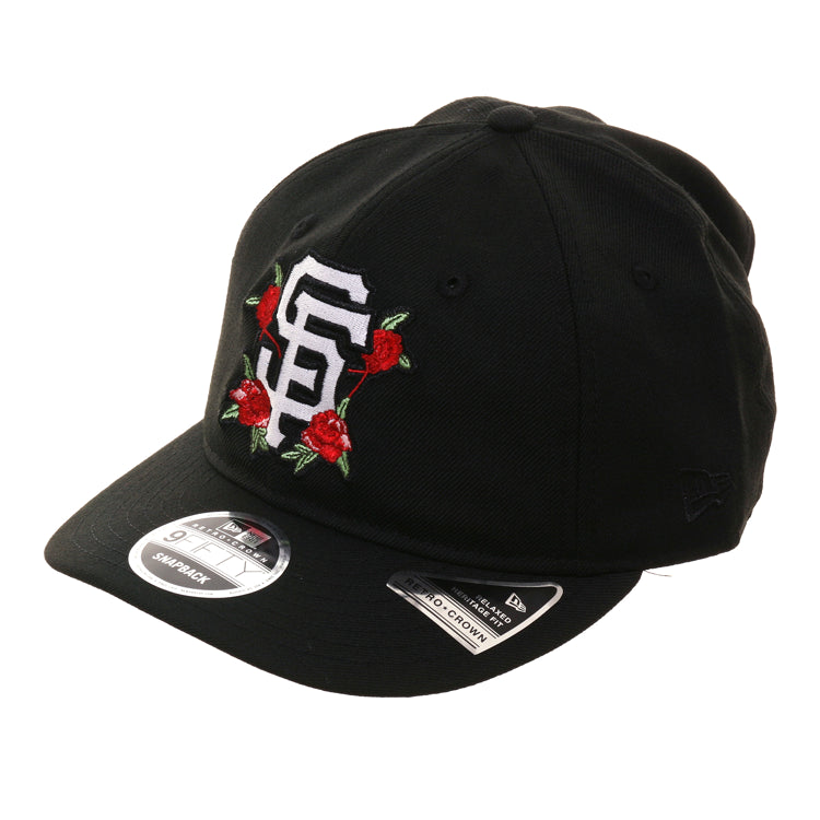Exclusive New Era 9Fifty San Francisco Giants Floral Retro Crown Snapback Hat - Black