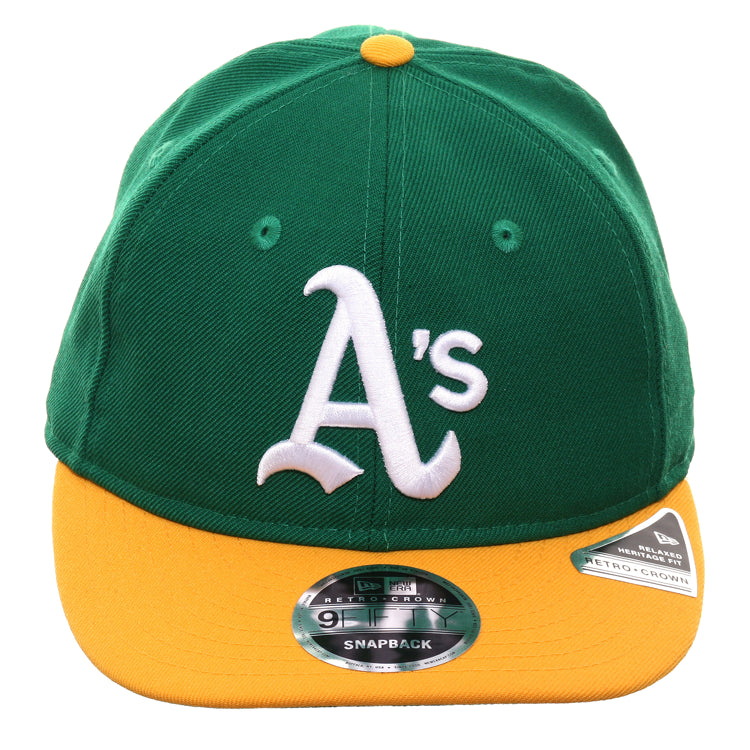 online retailer 8bad3 87a71 Exclusive New Era 9Fifty Oakland Athletics 1972 Retro Crown Snapback Hat -  2T Kelly Green, Gold
