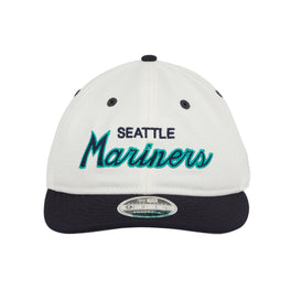 Exclusive 9fifty Retro Crown Seattle Mariners Script Snapback Hat - 2T White, Navy