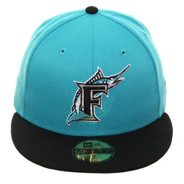 Exclusive New Era 59Fifty Florida Marlins 1993 Hat - 2T Teal, Black