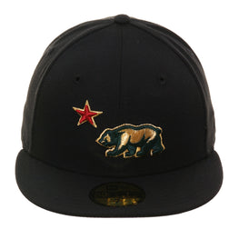 Exclusive New Era 59Fifty California Bear Hat - Black, Metallic Gold