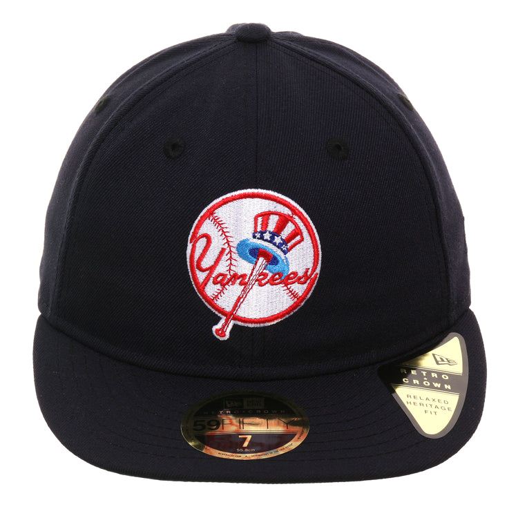 Exclusive New Era 59Fifty New York Yankees Logo Retro Crown Hat - Navy
