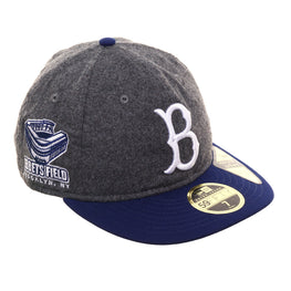 Exclusive New Era 59Fifty Brooklyn Dodgers Ebbets Field Patch Retro Crown Hat - 2T Flannel, Royal