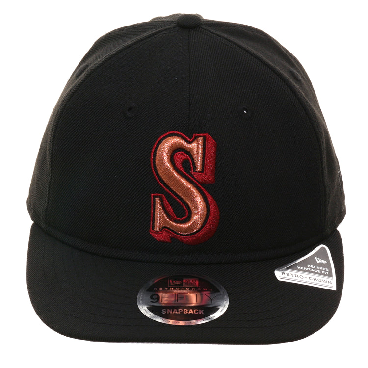 Exclusive New Era 9Fifty Seattle Mariners 1987 Retro Crown Snapback Hat - Black, Metallic Copper