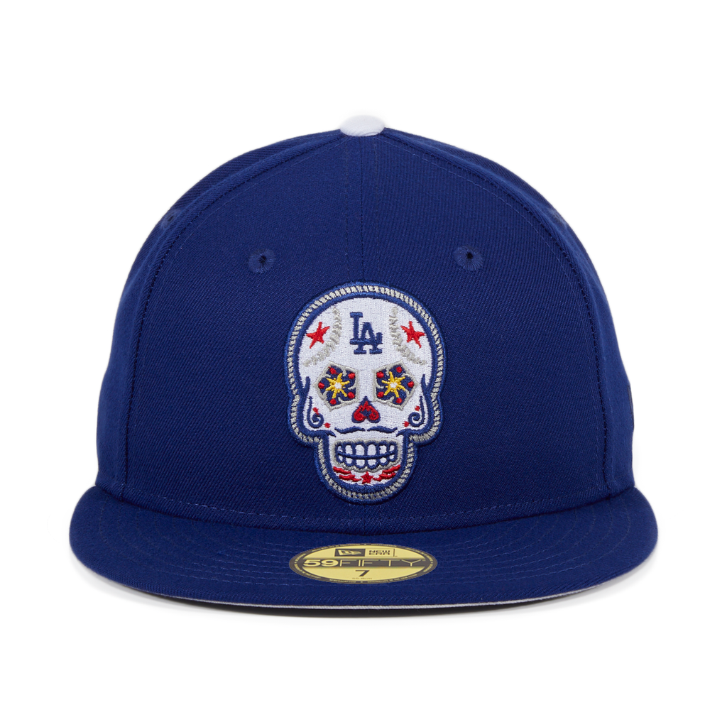 Exclusive New Era 59Fifty Los Angeles Dodgers Sugar Skull Hat - Royal