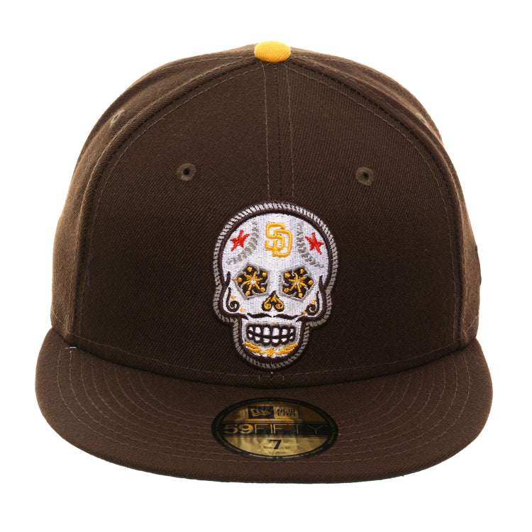 quality design 87bd9 d2703 New Era 59Fifty San Diego Padres Sugar Skull Hat - Brown – Hat Club
