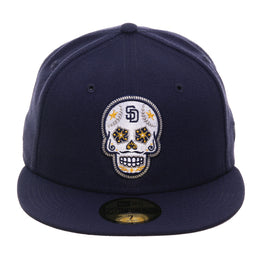 Exclusive New Era 59Fifty San Diego Padres Sugar Skull Hat - Light Navy