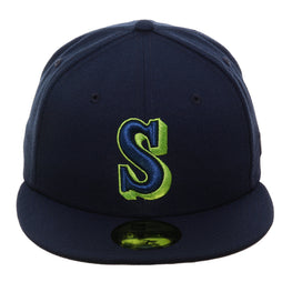Exclusive New Era 59Fifty Seattle Mariners 1987 Hat - Navy, Lime Green