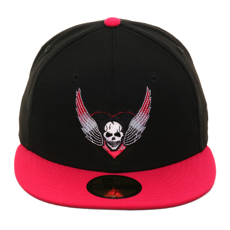 WWE New Era 59Fifty Brett Hart Hat - 2T Black, Pink