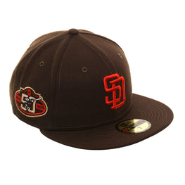 Exclusive New Era 59Fifty San Diego Padres 50th 1985 Logo Hat - Brown, Orange