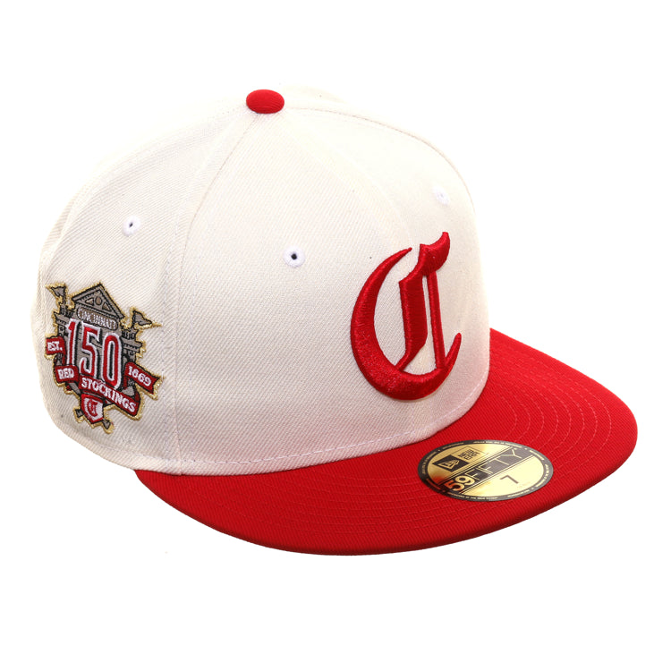 bd61b35d4 Exclusive New Era 59Fifty Cincinnati Reds 150th Anniversary Patch Hat - 2T  White, Red