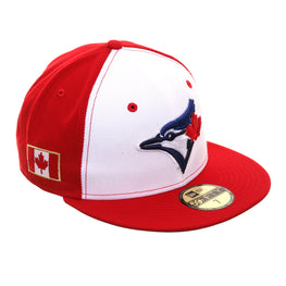 Exclusive New Era 59Fifty Toronto Blue Jays Canadian Flag Rail Hat - White, Red
