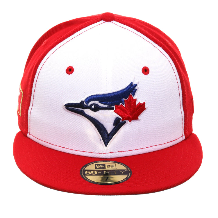 8d365026a Exclusive New Era 59Fifty Toronto Blue Jays Canadian Flag Rail Hat - White,  Red