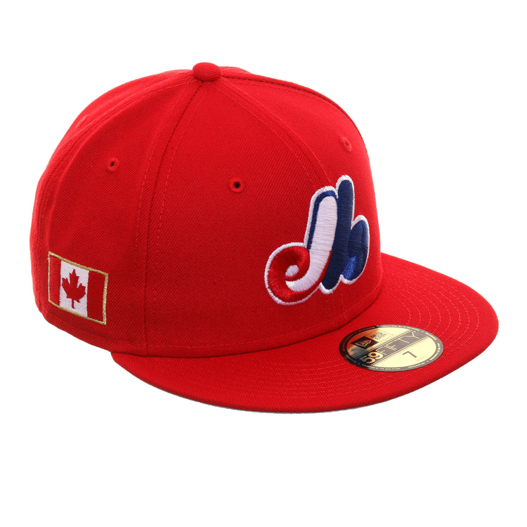 0b2981724dbdb1 Exclusive New Era 59Fifty Montreal Expos Canadian Flag Hat - Red – Hat Club