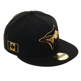 finest selection 00894 289c2 Exclusive New Era 59Fifty Toronto Blue Jays Canadian Flag Hat - Black,  Metallic Gold