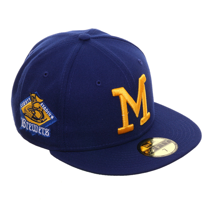 Exclusive New Era 59Fifty Milwaukee Brewers County Stadium Patch Hat - Royal