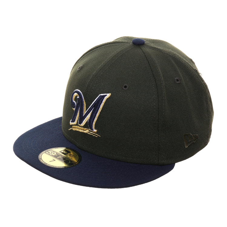 Exclusive New Era 59Fifty Milwaukee Brewers Hat - 2T Green, Navy