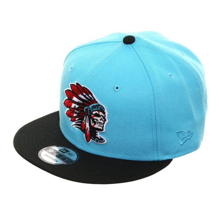 0906342a Exclusive New Era 9Fifty Skull Chief Snapback Hat - 2T Neon Blue, Black