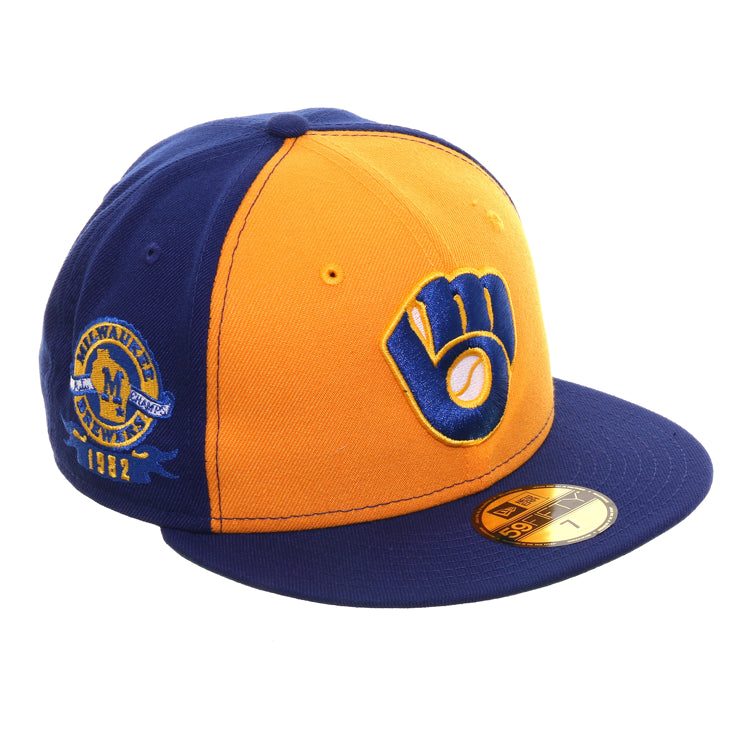 Exclusive New Era 59Fifty Milwaukee Brewers 1982 Al Champs Patch Rail Hat - Gold, Royal