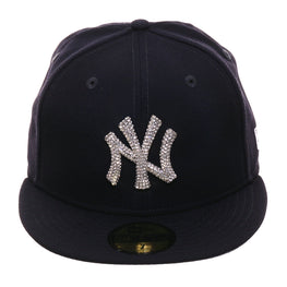 "Exclusive New Era 59Fifty New York Yankees ""Iced Out"" Crystal Bezel Hat - Navy"
