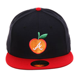 Exclusive New Era 59Fifty Atlanta Braves Peach Hat - 2T Navy, Red