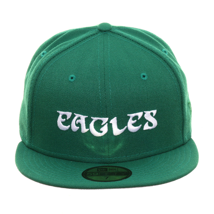 Exclusive New Era 59Fifty Philadelphia Eagles 1973 Word Hat - Kelly Green