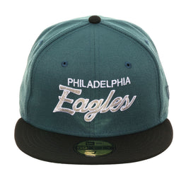 Exclusive New Era 59Fifty Philadelphia Eagles Script Hat - 2T  Green, Black