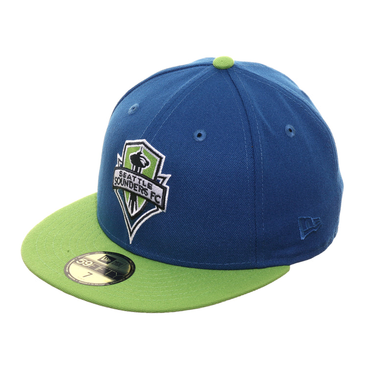 New Era 59Fifty Seattle Sounders Hat - 2T Indigo, Lime Green