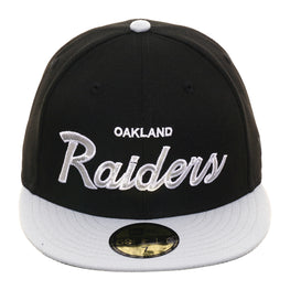 Exclusive New Era 59Fifty Oakland Raiders Script Hat - 2T Black, Gray