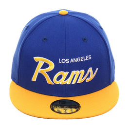 Exclusive New Era 59Fifty Los Angeles Rams Script Hat - 2T Royal, Gold