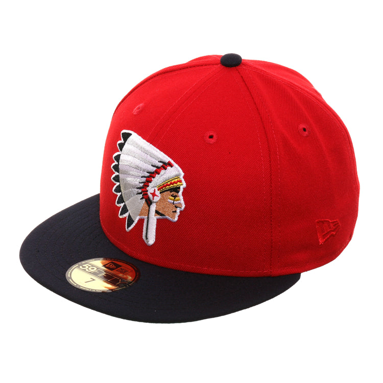 Exclusive New Era 59Fifty Spokane Indians 1970 Hat - 2T Red, Navy
