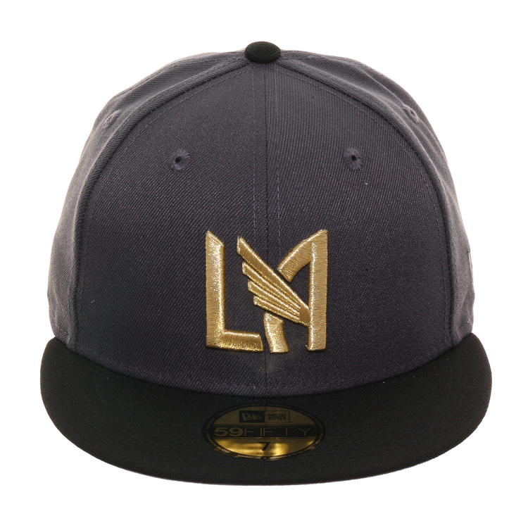 New Era 59Fifty Los Angeles Football Club Hat - 2T Graphite, Black, Metallic Gold