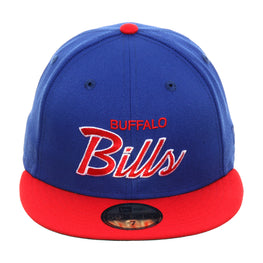 Exclusive New Era 59Fifty Buffalo Bills Script Hat - 2T Royal, Red