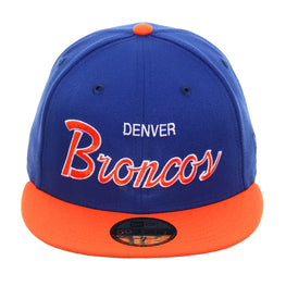 Exclusive New Era 59Fifty Denver Broncos Script Hat - 2T Royal, Orange