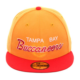 Exclusive New Era 59Fifty Tampa Bay Buccaneers Script Hat - 2T Light Orange , Red