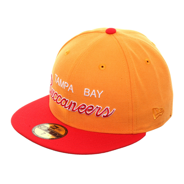 cheap for discount e01f1 435ee Exclusive New Era 59Fifty Tampa Bay Buccaneers Script Hat - 2T Light Orange  , Red
