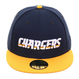 Exclusive New Era 59Fifty Los Angeles Chargers Word Hat - 2T Navy, Gold