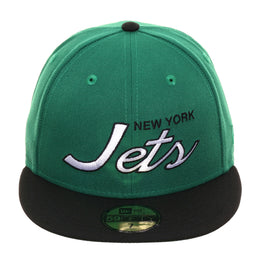Exclusive New Era 59Fifty New York Jets Script Hat - 2T Kelly Green, Black